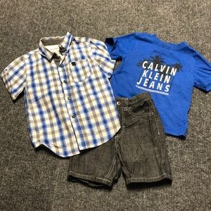 Like new! 3-pc Calvin Klein shorts, tee, button-up